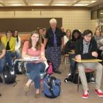 Sister Nancy Dawson with YSU students