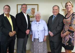 Joining Sister Nancy (center), are members of the Distribution Committee of the James and Coralie Centofanti Charitable Foundation. From left are Dave Centofanti, son of the late James and Coralie, Mark Graham, Dante Zambrini and Carol Potter.